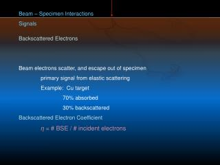 Beam – Specimen Interactions Signals