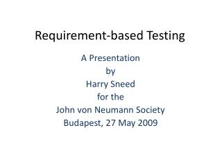 Requirement-based Testing