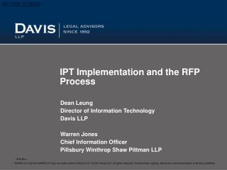 IPT Implementation and the RFP Process