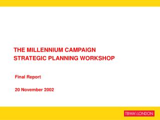 THE MILLENNIUM CAMPAIGN STRATEGIC PLANNING WORKSHOP