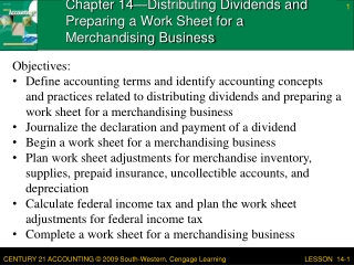 Chapter 14—Distributing Dividends and Preparing a Work Sheet for a Merchandising Business