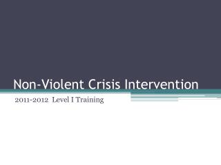 Non-Violent Crisis Intervention