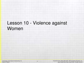 Lesson 10 - Violence against Women