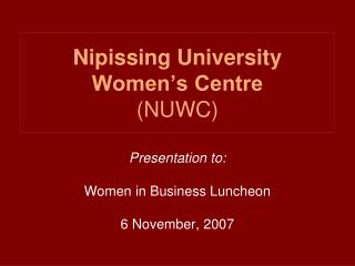 Nipissing University Women's Centre (NUWC)