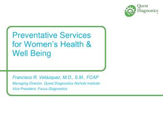 Preventative Services for Women's Health & Well Being