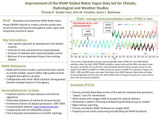 Improvement of the NVAP Global Water Vapor Data Set for Climate, Hydrological and Weather Studies