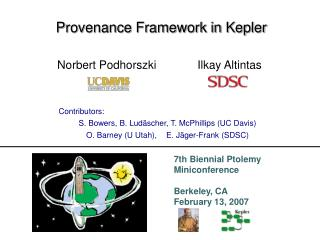 Provenance Framework in Kepler