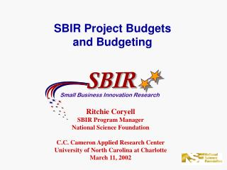 SBIR Project Budgets and Budgeting