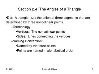 Section 2.4  The Angles of a Triangle