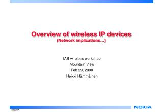 Overview of wireless IP devices (Network implications…)
