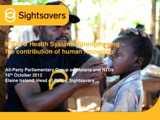 NTDs & Health Systems Strengthening – the contribution of human resources