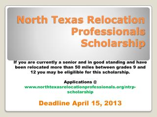North Texas Relocation Professionals Scholarship
