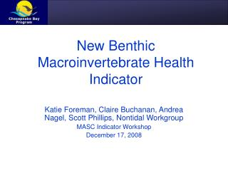 New Benthic Macroinvertebrate Health Indicator