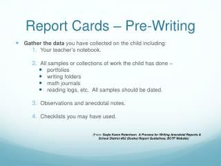 Report Cards – Pre-Writing