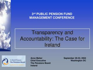 Transparency and Accountability: The Case for Ireland
