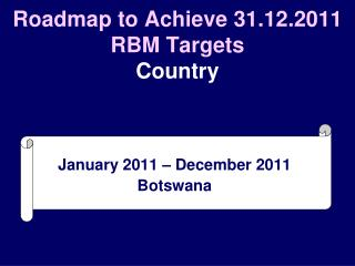 Roadmap to Achieve 31.12.2011 RBM Targets Country
