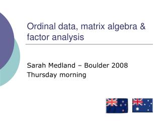 Ordinal data, matrix algebra & factor analysis