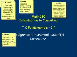 "Math 130 Introduction to Computing """" C Fundamentals – 3 """