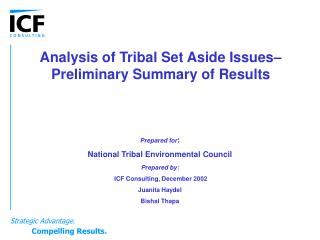 Analysis of Tribal Set Aside Issues– Preliminary Summary of Results