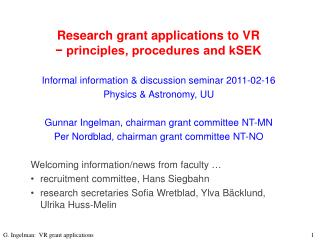 Research grant applications to VR  − principles, procedures and kSEK
