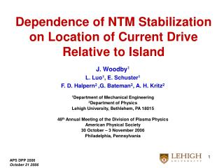 Dependence of NTM Stabilization  on Location of Current Drive  Relative to Island