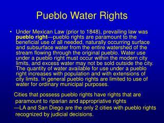 Pueblo Water Rights