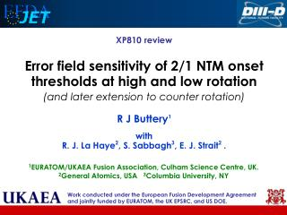XP810 review Error field sensitivity of 2/1 NTM onset thresholds at high and low rotation