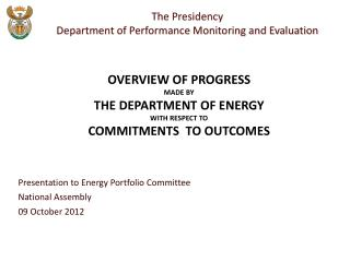 Presentation to Energy Portfolio Committee National Assembly  09 October 2012