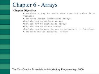 Chapter 6 - Arrays