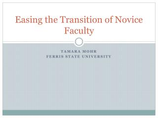 Easing the Transition of Novice Faculty