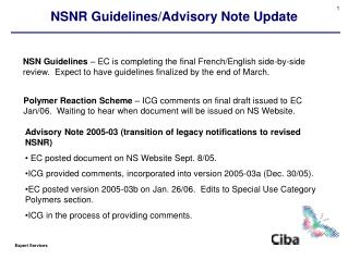 NSNR Guidelines/Advisory Note Update