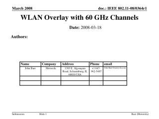 WLAN Overlay with 60 GHz Channels