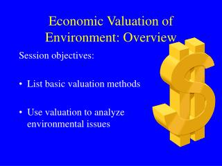 Economic Valuation of Environment: Overview