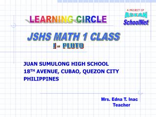 JUAN SUMULONG HIGH SCHOOL 18 TH  AVENUE, CUBAO, QUEZON CITY  PHILIPPINES