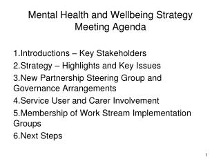Mental Health and Wellbeing Strategy Meeting Agenda
