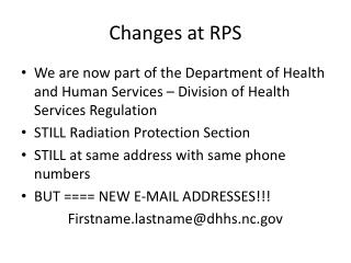 Changes at RPS