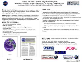 Project Title: NEWS Science Integration Team (NSIT)