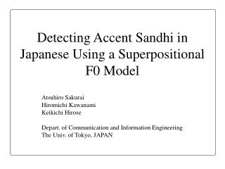 Detecting Accent Sandhi in Japanese Using a Superpositional F0 Model