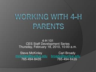 Working with 4-H Parents