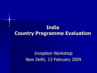 India  Country Programme Evaluation