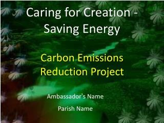 Caring for Creation - Saving Energy Carbon Emissions Reduction  Project