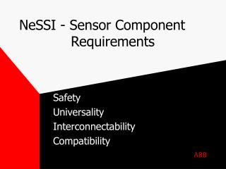 NeSSI - Sensor Component Requirements