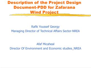 Description of the Project Design Document-PDD for Zafarana  Wind Project
