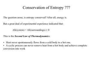 Conservation of Entropy ???