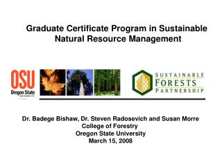 Graduate Certificate Program in Sustainable  Natural Resource Management