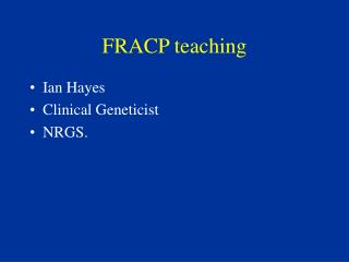 FRACP teaching