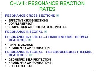 CH.VIII:  RESONANCE REACTION RATES