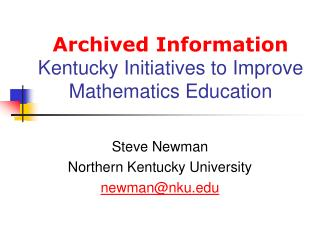 Archived Information Kentucky Initiatives to Improve Mathematics Education