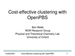 Cost-effective clustering with OpenPBS