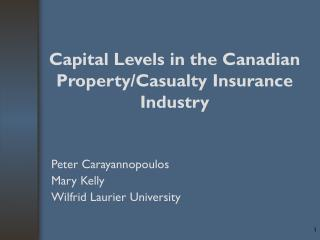 Capital Levels in the Canadian Property/Casualty Insurance Industry